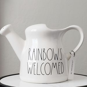 Rae Dunn RAINBOWS WELCOME Watering Can Planter new